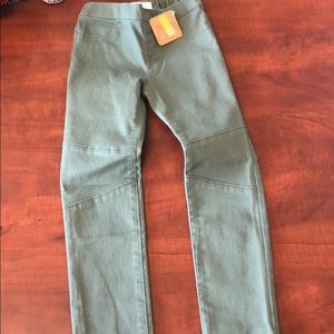 Stretch waist moto jeans in olive